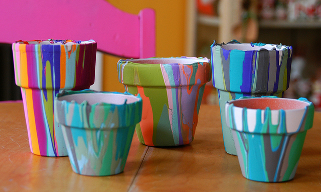 Gardening with Kids: Rainbow Pour Pots